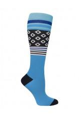 "Prestige – 386 - 12"" Premium Knit Compression Socks – Black & Blue Diamonds & Stripes"